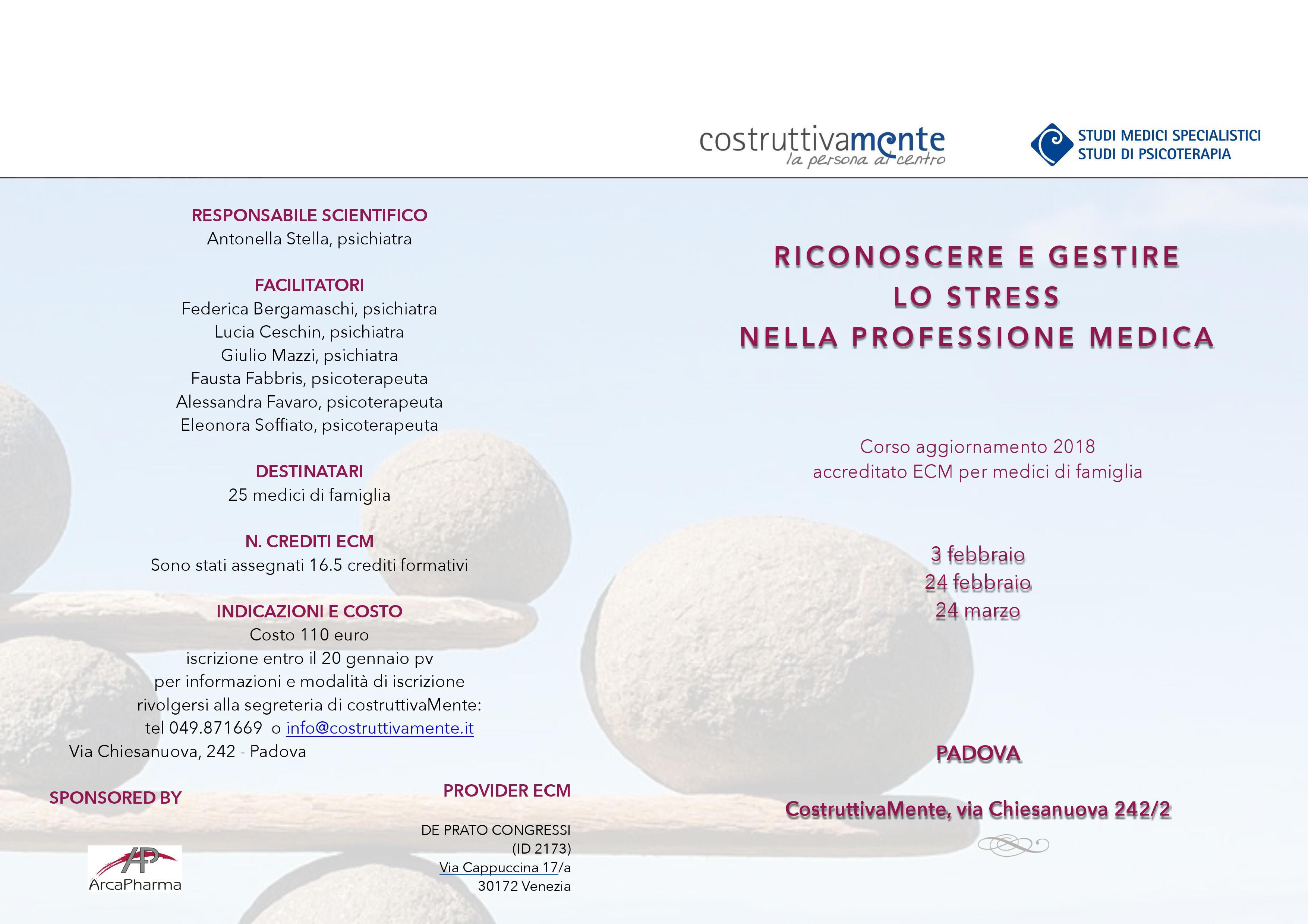 Brochure stress nella professione medica - Psicologa Eleonora Soffiato